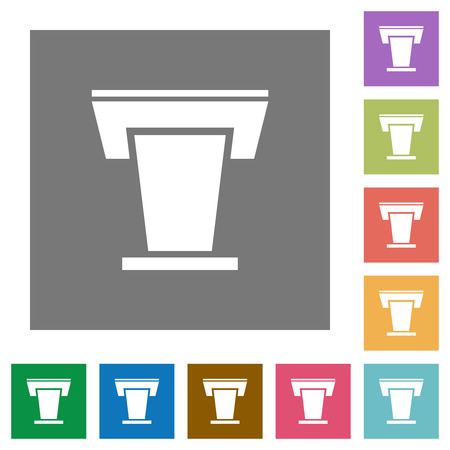 Conference podium flat icons on simple color square backgrounds