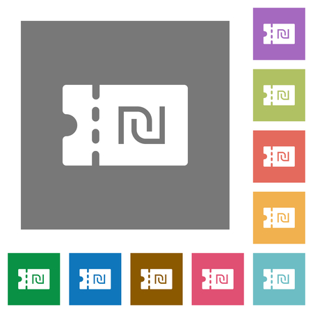 New Shekel discount coupon flat icons on simple color square backgrounds Vetores
