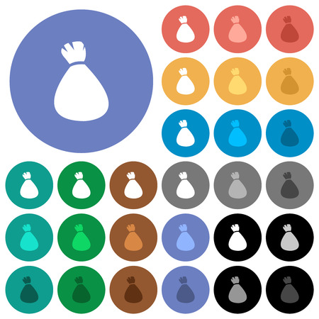 Money bag multi colored flat icons on round backgrounds. Included white, light and dark icon variations for hover and active status effects, and bonus shades.
