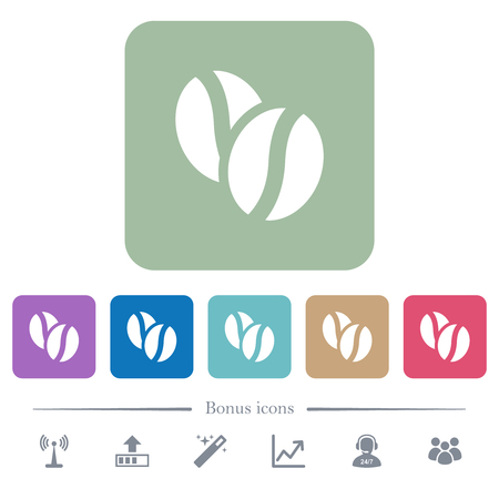 Coffe beans white flat icons on color rounded square backgrounds. 6 bonus icons included