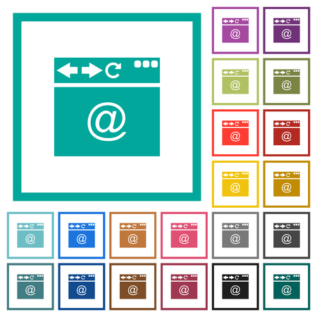 Browser e-mail egale kleur pictogrammen met kwadrant frames op witte achtergrond Vector Illustratie