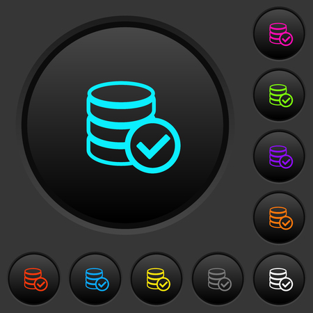 Database ok dark push buttons with vivid color icons on dark grey background Ilustrace