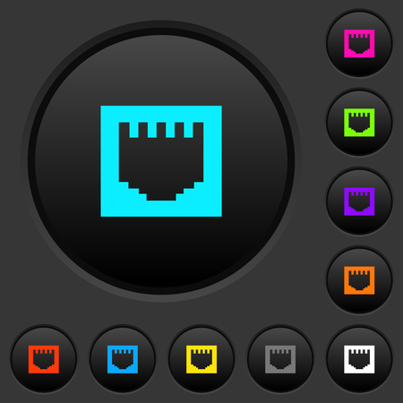 Ethernet connector dark push buttons with vivid color icons on dark grey background