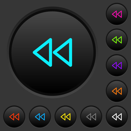 Media fast backward dark push buttons with vivid color icons on dark grey background Illustration