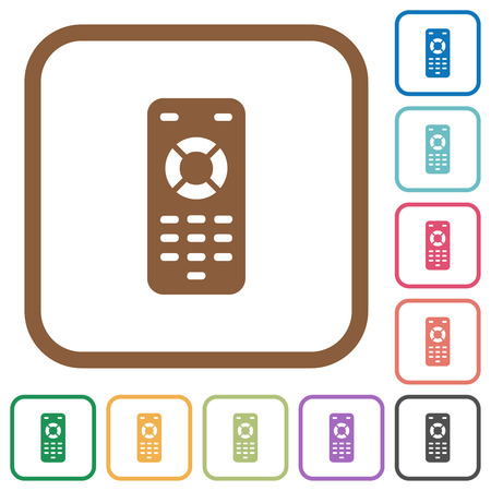 Remote control simple icons in color rounded square frames on white background