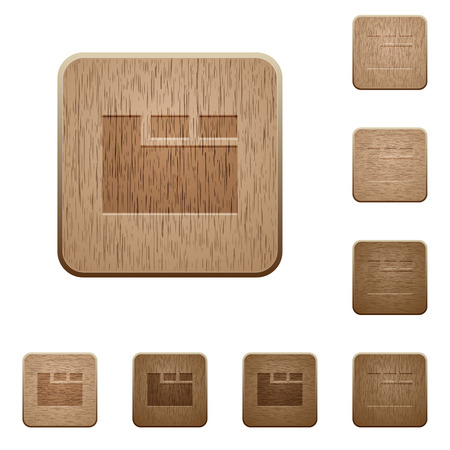 Horizontal tabbed layout active on rounded square carved wooden button styles Ilustração