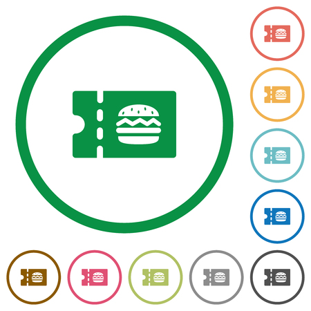 Fast food restaurant discount coupon flat color icons in round outlines on white background Ilustrace