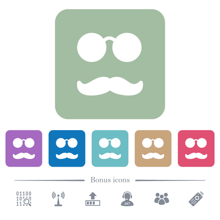 Glasses and mustache white flat icons on color rounded square backgrounds. 6 bonus icons included Çizim