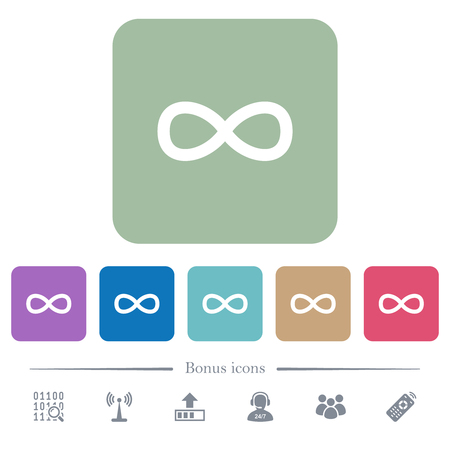 Infinity symbol white flat icons on color rounded square backgrounds. 6 bonus icons included