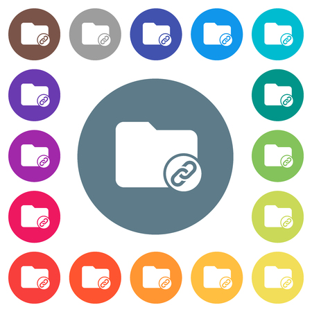 Directory attachment flat white icons on round color backgrounds. 17 background color variations are included. Ilustração
