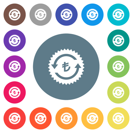 Lira pay back guarantee sticker flat white icons on round color backgrounds. 17 background color variations are included. Illustration