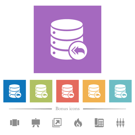 Database loopback flat white icons in square backgrounds. 6 bonus icons included.