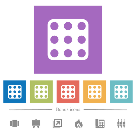 Domino nine flat white icons in square backgrounds. 6 bonus icons included.