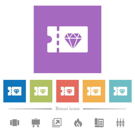 Jewelry store discount coupon flat white icons in square backgrounds. 6 bonus icons included.