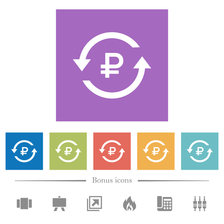 Ruble pay back flat white icons in square backgrounds. 6 bonus icons included.