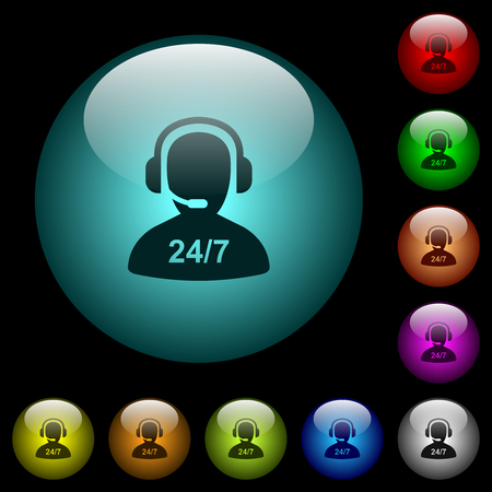 24 hours operator service icons in color illuminated spherical glass buttons on black background. Can be used to black or dark templates