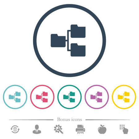 Shared folders flat color icons in round outlines. 6 bonus icons included.