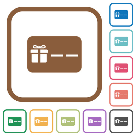 Gift card with placeholder simple icons in color rounded square frames on white background