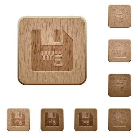 Zipped file on rounded square carved wooden button styles