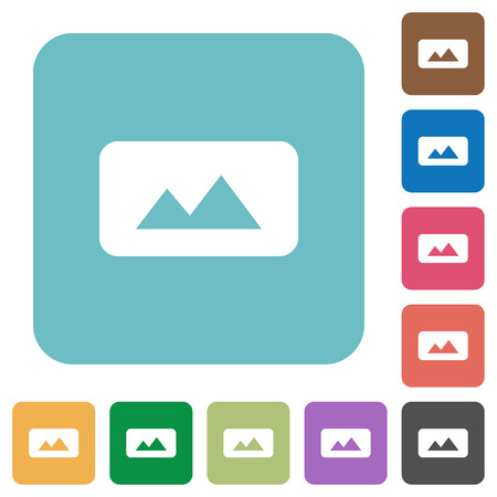Panorama picture white flat icons on color rounded square backgrounds Illustration