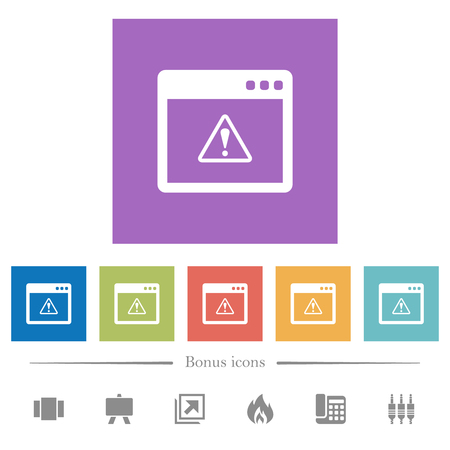 Application warning flat white icons in square backgrounds. 6 bonus icons included.