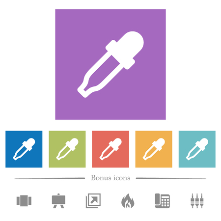 Color picker flat white icons in square backgrounds. 6 bonus icons included.