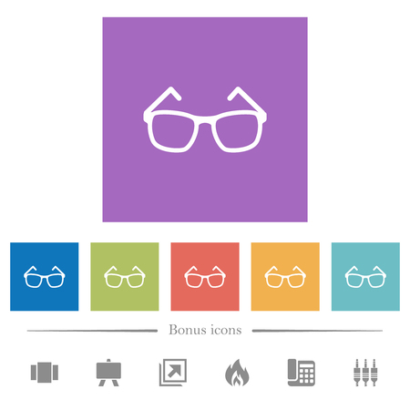 Eyeglasses flat white icons in square backgrounds. 6 bonus icons included.