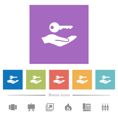 Security service flat white icons in square backgrounds. 6 bonus icons included. Vectores