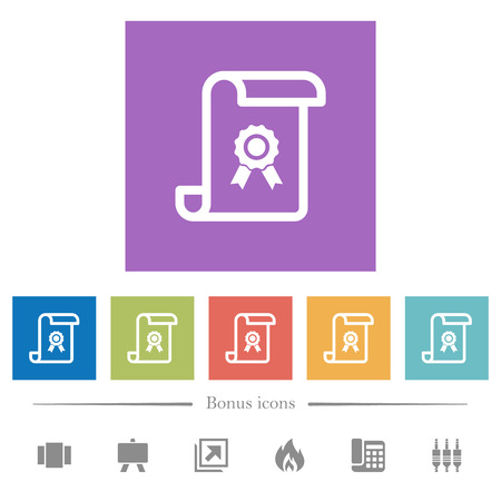 Scroll with certificate flat white icons in square backgrounds. 6 bonus icons included. Vectores