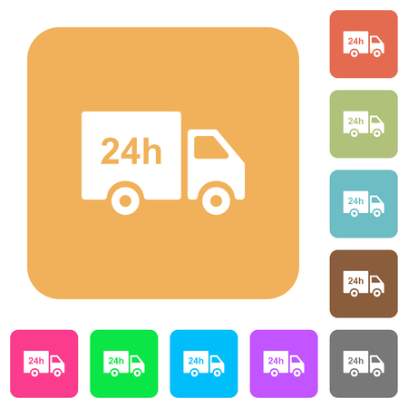 24 hour delivery truck flat icons on rounded square vivid color backgrounds. Illustration