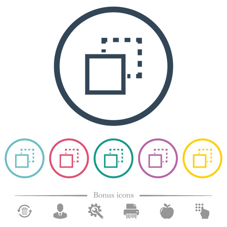 Send element to back flat color icons in round outlines. 6 bonus icons included. Illustration