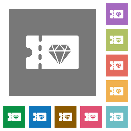 Jewelry store discount coupon flat icons on simple color square backgrounds