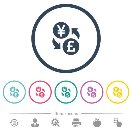 Yen Pound money exchange flat color icons in round outlines. 6 bonus icons included.