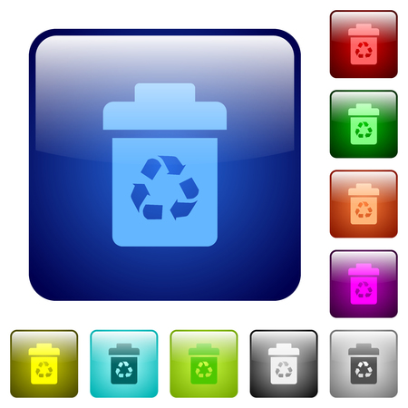 Recycle bin icons in rounded square color glossy button set Illustration