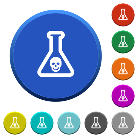 Dangerous chemical experiment round color beveled buttons with smooth surfaces and flat white icons