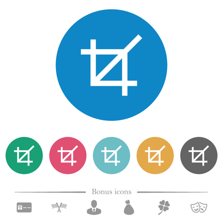 Crop tool flat white icons on round color backgrounds. 6 bonus icons included.