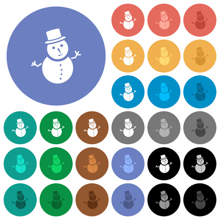Snowman multi colored flat icons on round backgrounds. Included white, light and dark icon variations for hover and active status effects, and bonus shades. Vektoros illusztráció
