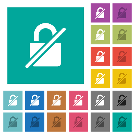 Unprotected multi colored flat icons on plain square backgrounds. Included white and darker icon variations for hover or active effects.