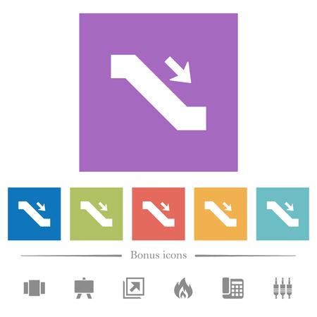 Escalator down sign flat white icons in square backgrounds. 6 bonus icons included. Ilustração