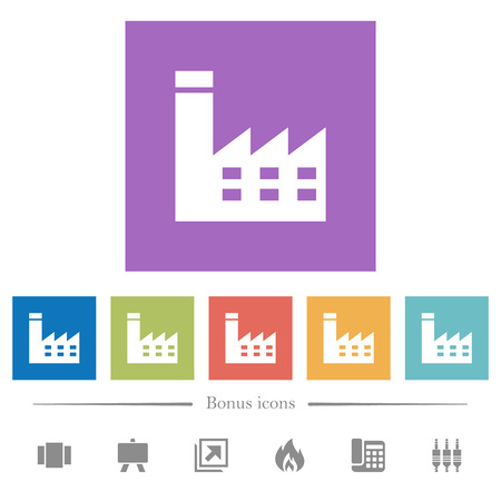 Edificio de fábrica iconos planos blancos en fondos cuadrados. Se incluyen 6 iconos de bonificación.