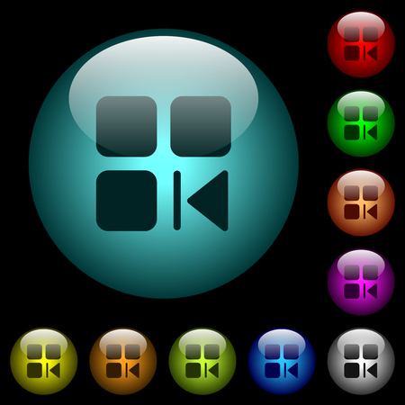 Previous component icons in color illuminated spherical glass buttons on black background. Can be used to black or dark templates