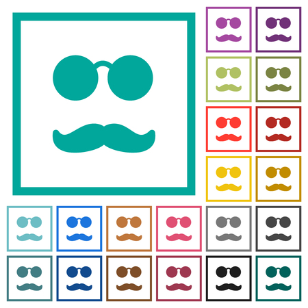 Glasses and mustache flat color icons with quadrant frames on white background