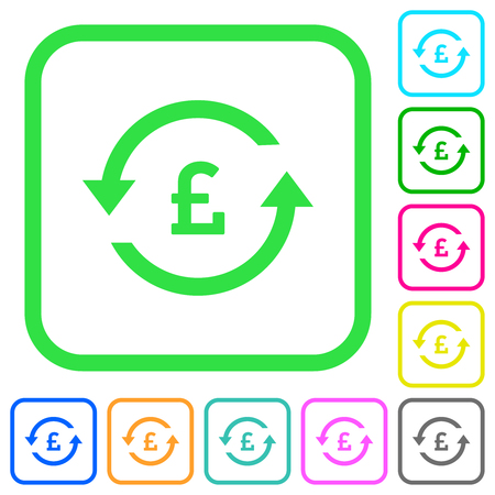 Pound pay back vivid colored flat icons in curved borders on white background
