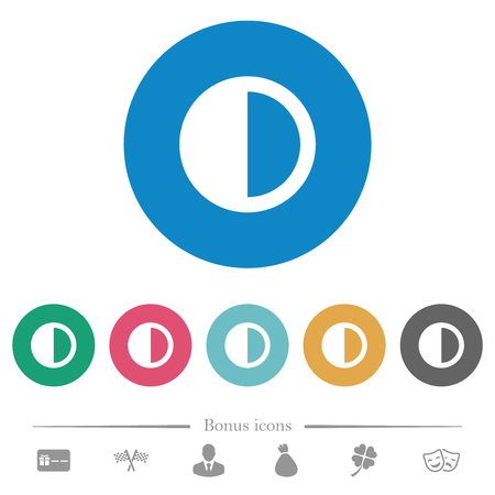 Contrast control flat white icons on round color backgrounds. 6 bonus icons included.