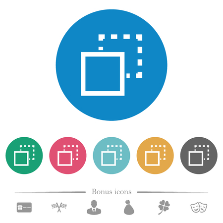 Send element to back flat white icons on round color backgrounds. 6 bonus icons included. Illustration