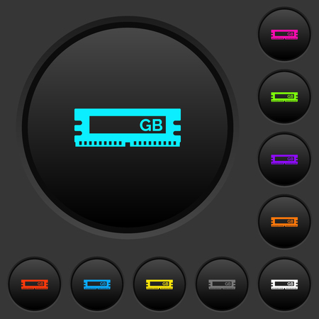 RAM memory module dark push buttons with vivid color icons on dark grey background