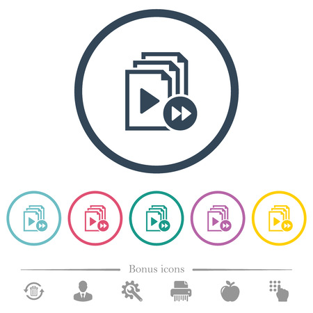 Playlist fast forward flat color icons in round outlines. 6 bonus icons included.
