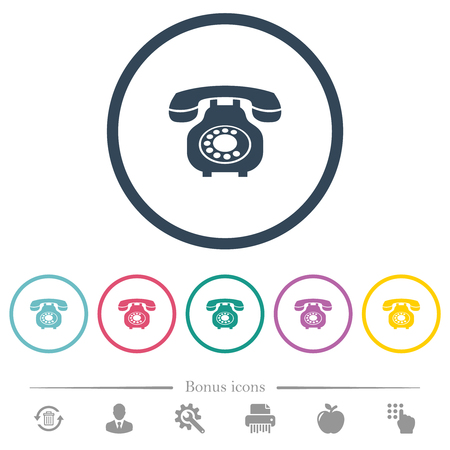 Vintage retro telephone flat color icons in round outlines. 6 bonus icons included.