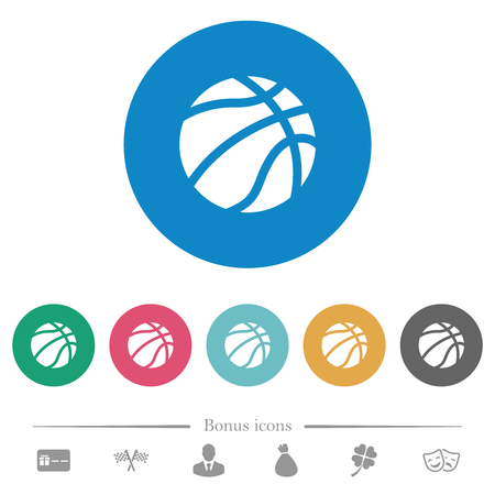 Basketball flat white icons on round color backgrounds. 6 bonus icons included.