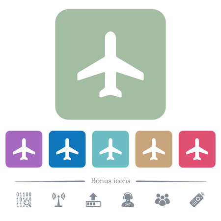 Airplane white flat icons on color rounded square backgrounds. 6 bonus icons included